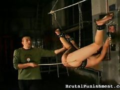 Brutal Punishment - Her nipples harden as he lets loose a barrage of BDSM corporal punishments. She jerks, whines and wriggles with every lash.